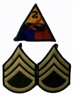 2nd Armored Division + Staff Sgt Rank Färg WW2 typ