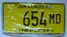 Illinois Nummerplåtar USA Vintage Yellow: 1 par