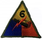6th Armored Division US Army Tygmärke WW2 repro