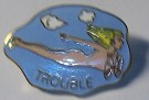 Pin Trouble Nose Art USAF Bomber WW2