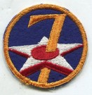 Tygmärke 7th USAAF US Army Air Force WW2 Original