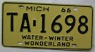 Michigan Nummerplåt USA Wonderland 1966