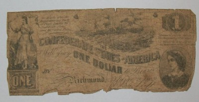 Sedel CSA One Dollar Richmond Civil War Original