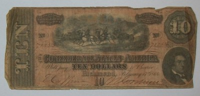 Sedel CSA Ten Dollars Richmond Civil War Original