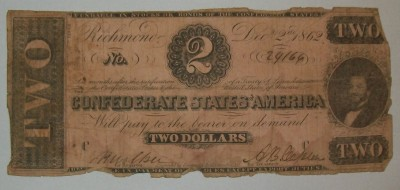 Sedel CSA Two Dollars Richmond Civil War Original