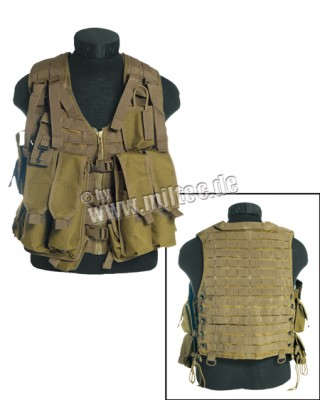 Stridsväst AK Tactical 12 fickor MOLLE Tan Desert Coyote