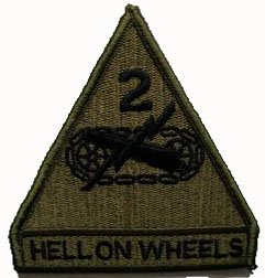"2nd Armored Division ""Hell on Wheels"" Tygmärke subdued"
