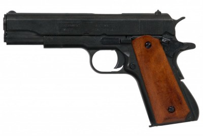 .45 M1911 A1 Black med träkolv WW2 replika