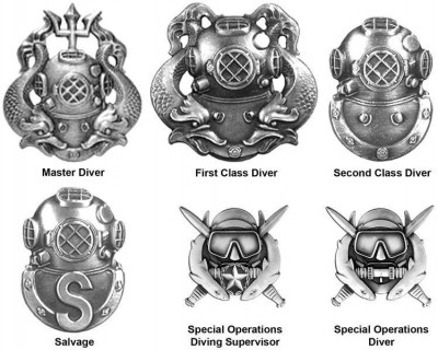 Diver Badge US Army Navy Mattsvart