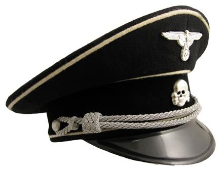 Hatt Totenkopf Offizier Infanterie Schwarz Repro Ww1 Ww2